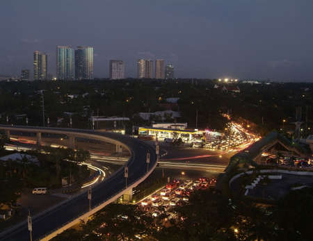 Night view of Makati City, Manila, The Philippines shortly after sunset Stock Photo