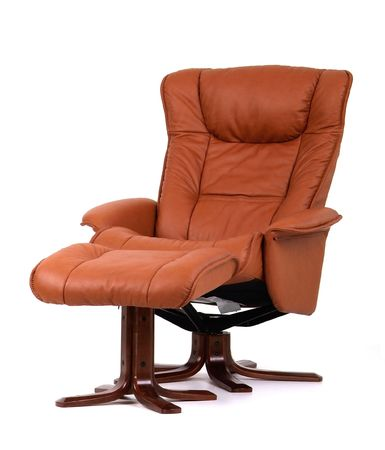 recliner: Brown leather recliner chair with matching footstool. Perspective view isolated on white.