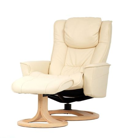 recliner: Off-white leather recliner chair with matching footstool. Perspective view isolated on white. Stock Photo