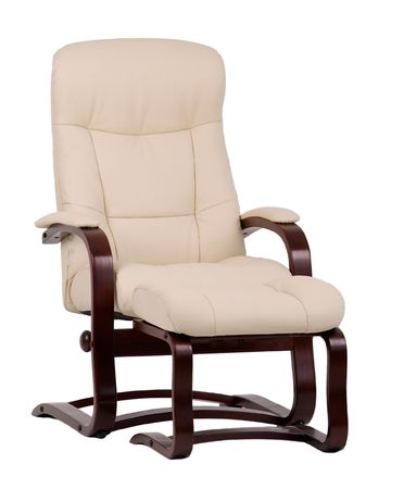 recliner: Brown and beige, leather and wood, recliner with matching footstool. Isolated on white. Stock Photo
