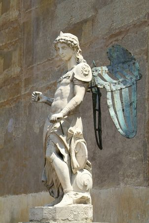 Sculpture of Icarus, the son of Daedalus, the greek mythical figure with wings, who tried to escape imprisonment by flying, but fell into the see and drowned, when the wax on his wings melted as he flew to close to the sun. Stock Photo
