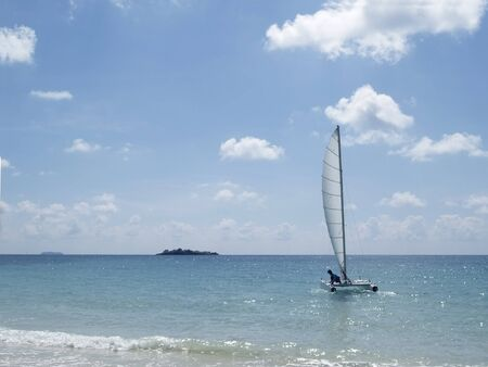 catamaran: Catamaran at sea sailing from a beach on Koh Samet, Rayong province, Thailand.