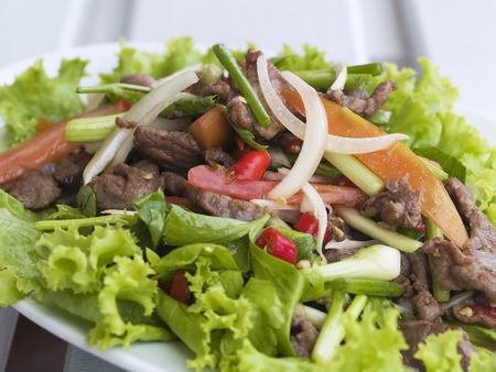 Thai beef salad, yam nua, a very spicy salad with cold, fried beef, onion, garlic, chili pepper, tomato and spring onion. Shallow depth of field.