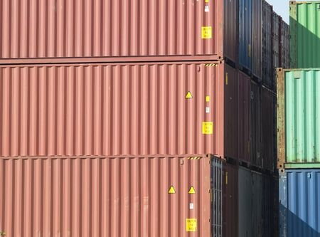 Stack of 40 foot freight containers, side view. Stock Photo