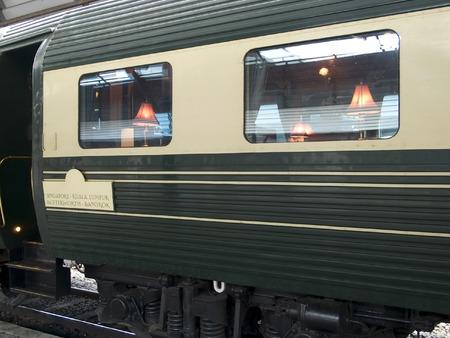 Dining car of luxury express train between Singapore and Bangkok