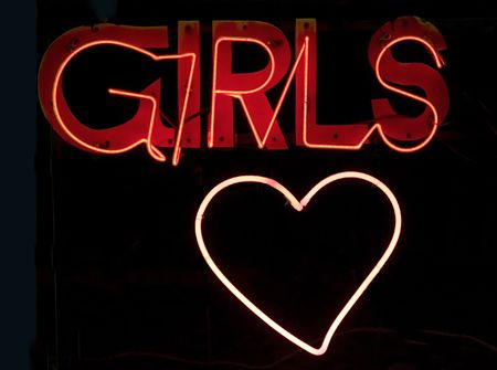 Neon sign with the text