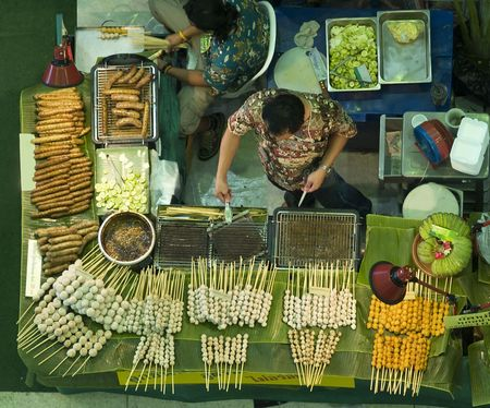 Aerial photo of a meatball vendors stall at a local market in Thailand
