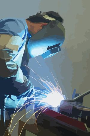 kaynakçı: Welder with protective mask working. Vector graphics, unlimited enlargement possible. Çizim