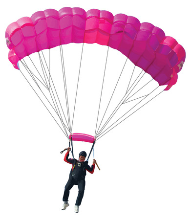 Parachutist with pink parachute isolated on  white
