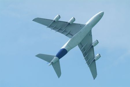 Wide-body airliner flying seen from below Stock Photo - 2611034