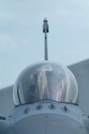 supersonic: Front view with shallow depth of field of F16 fighter aircraft