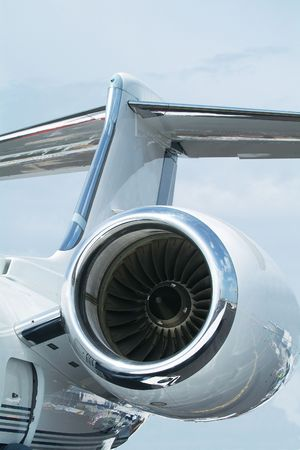 Tail-plane and engine of two engine business jet