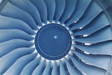 Turbine of jet engine on a large passenger aircraft Stock Photo