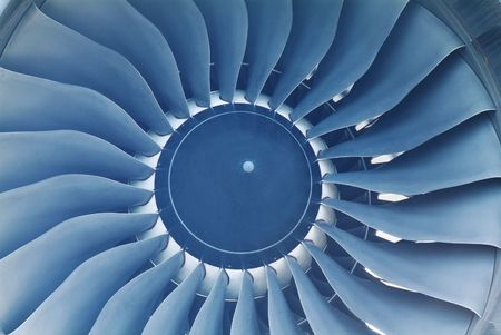 Turbine of jet engine on a large passenger aircraft Stock Photo