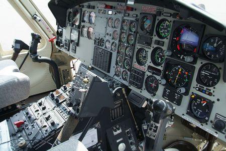 Cockpit with instruments in helicopter of American origin. Standard-Bild