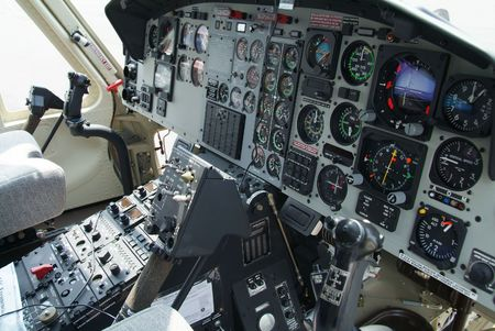 Cockpit with instruments in helicopter of American origin. Stock Photo
