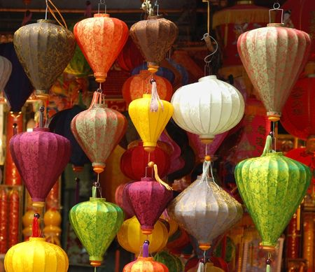 Colourful Asian lamps in a shop in Hanoi, Vietnam