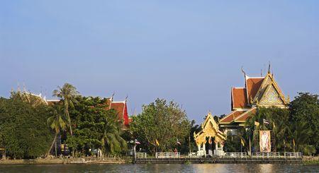 nontaburi: Buddhist temple by the Chao Praya river in Pak Kred, Nontaburi province in Thailand.