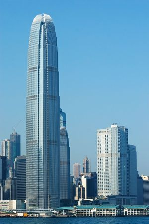 Hong Kong island with the International Finance Centre (2IFC) skyscraper. Central Pier in the foreground.