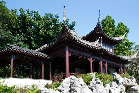 walled: Pavilion in Kowloon Walled City Park in Hong Kong.