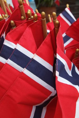 17th: Many Norwegian flags used for the celebration of the national day, 17th of May.