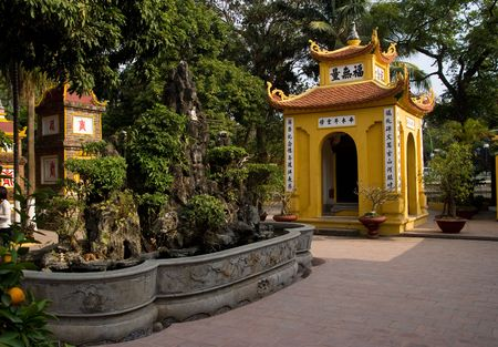 tran: The temple at the Tran Quoc Pagoda in Hanoi, Vietnam.