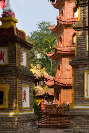 tran: The Tran Quoc Pagoda in Hanoi, Vietnam Stock Photo