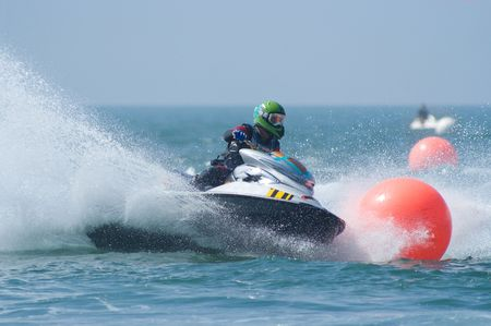 Watercraft and spray during a competition in Pattaya, Thailand