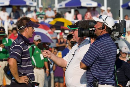 BANGKOK, THAILAND - JANUARY 10: Swedish golf player Henrik Stenson giving a TV interview after his team won at the Royal Trophy tournament, Asia vs Europe, at Amata Spring, Bangkok, Thailand on January 10, 2010.