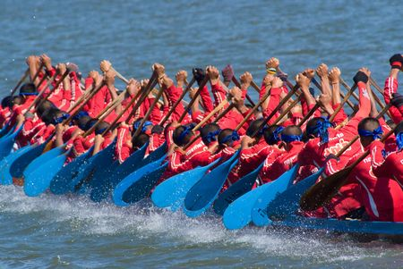dragonboat: Pattaya, Thailand, Saturday 21 November 2009: The annual longboat races were arranged at the Maprachan Lake. The most spectacular class was the 55 man longboat, with teams from all over the nation.  Editorial