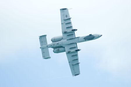united states air force: SINGAPORE - FEBRUARY 3: Bottom view of United States Air Force A-10 Thunderbolt II fighter aircraft at Singapore Airshow 2010 at Changi Exhibition Centre, Singapore on January 15, 2010.