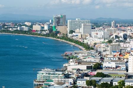 Aerial view of Pattaya City, Chonburi, Thailand.