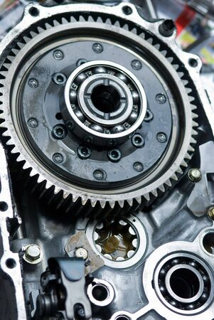 Inside of a car gearbox with ball bearings. Stock Photo