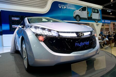 BANGKOK - DECEMBER 2: Hyundai showing HND-4 Blue-Will, a hybrid car prototype, at Motor Expo, Impact on December 2, 2010 in Bangkok, Thailand. Stock Photo - 8449566