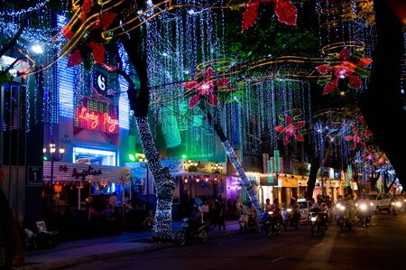 HO CHI MINH CITY - DECEMBER 22: Street and shops decorated for Christmas on December 22, 2010 in Ho Chi Minh City.