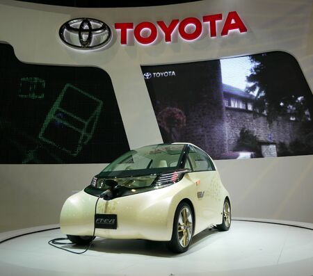 motor show: BANGKOK - MARCH 25: Toyota shows the FT-EVII electric city car prototype at the 32nd Bangkok International Motor Show at Impact Challenger on March 25, 2011 in Bangkok, Thailand.