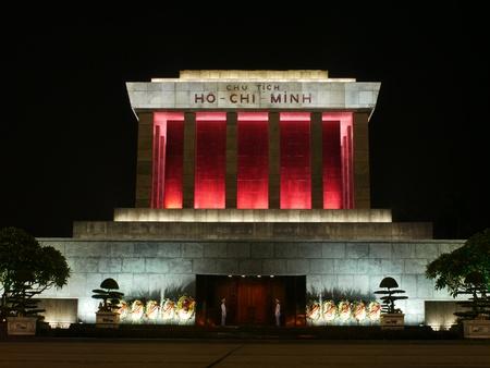 Night photo of the Ho Chi Minh Mausoleum in Hanoi, Vietnam