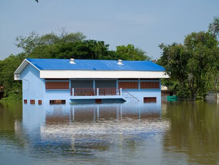 Flooded school building during the monsoon season in Ayuttaya, Thailand in 2011. Stock Photo - 10807800
