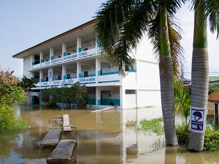 Flooded school building during the monsoon season in Ayuttaya, Thailand in 2011. Stock Photo - 10807798