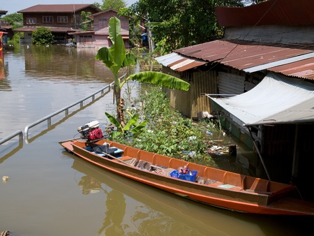 Flooded city street in Ayuttaya during the monsoon season 2011.