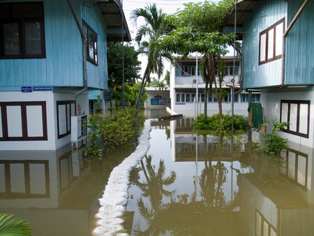 AYUTTAYA, THAILAND - OCTOBER 5: A flooded school during the monsoon season in Ayuttaya, Thailand on October 5, 2011. Stock Photo - 10781228