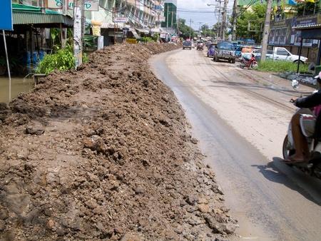 ayuttaya: AYUTTAYA, THAILAND - OCTOBER 5: Street with temporary flood barrier made from mud during the monsoon season in Ayuttaya, Thailand on October 5, 2011. Editorial