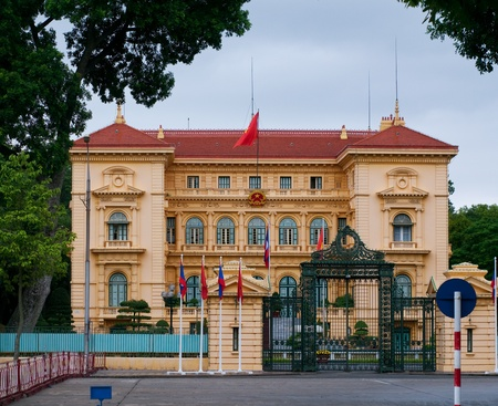 Ho Chi Minhs Presidential Palace in Hanoi, Vietnam