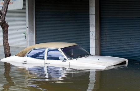 stranded: Stranded car in Bangkok, Thailand during record monsoon flooding in October 2011.