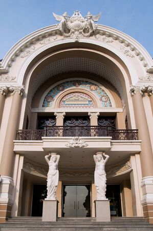 The entrance of Saigon Opera House in Ho Chi Minh City, Vietnam Editorial