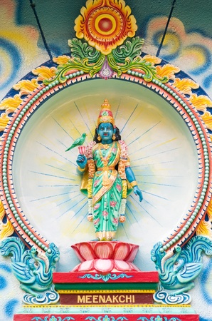 mariamman: Porcelain image of Meenakshi, a consort of Shiva, from Sri Mariamman Hindu temple in Ho Chi Minh City, Vietnam.