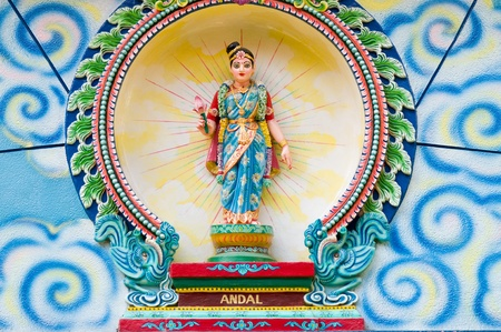 mariamman: Porcelain image of Andal, a female Alvar, from Sri Mariamman Hindu temple in Ho Chi Minh City, Vietnam.