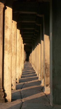 Colonnade just after sunrise at Angkor Wat in Siem Reap, Cambodia. photo