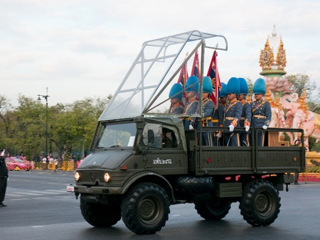 BANGKOK, THAILAND - DECEMBER�5: Soldiers in parade uniforms arriving for the celebration of the 84th birthday of H.M. King Bhumipol Adulyadej in Bangkok, Thailand on December 5 2011.