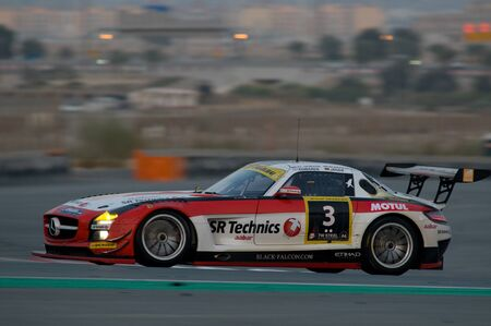 gt3: DUBAI - JANUARY 14: Car 3, a Mercedes SLS AMG GT3, during the morning hours of the 2012 Dunlop 24 Hour Race at Dubai Autodrome on January 14, 2012. Editorial